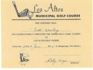 Junior Golf Certificate